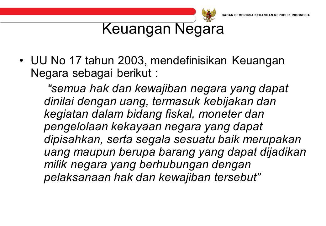 """Keuangan Negara •UU No 17 tahun 2003, mendefinisikan Keuangan Negara sebagai berikut : """"semua hak dan kewajiban negara yang dapat dinilai dengan uang,"""