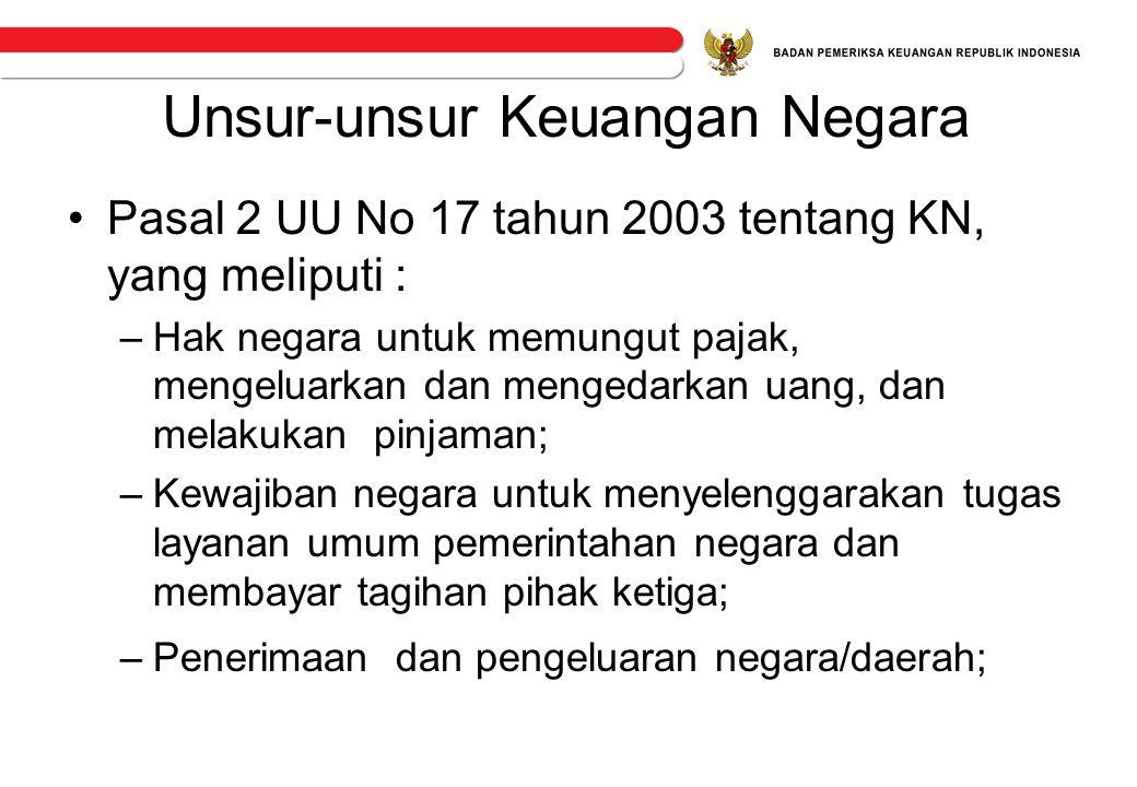 Unsur-unsur Keuangan Negara •Pasal 2 UU No 17 tahun 2003 tentang KN, yang meliputi : –Hak negara untuk memungut pajak, mengeluarkan dan mengedarkan ua