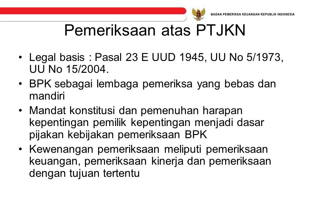 Pemeriksaan atas PTJKN •Legal basis : Pasal 23 E UUD 1945, UU No 5/1973, UU No 15/2004. •BPK sebagai lembaga pemeriksa yang bebas dan mandiri •Mandat