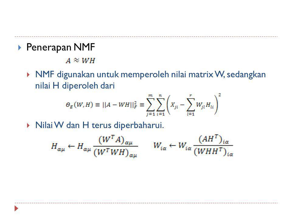  Penerapan NMF  NMF digunakan untuk memperoleh nilai matrix W, sedangkan nilai H diperoleh dari  Nilai W dan H terus diperbaharui.