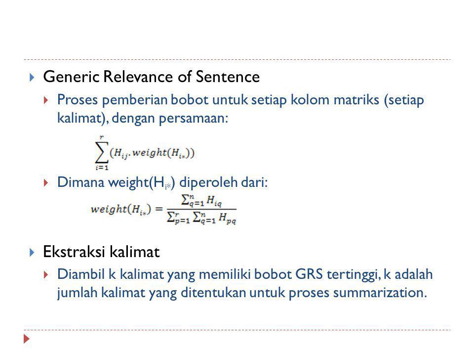  Generic Relevance of Sentence  Proses pemberian bobot untuk setiap kolom matriks (setiap kalimat), dengan persamaan:  Dimana weight(H i* ) diperol