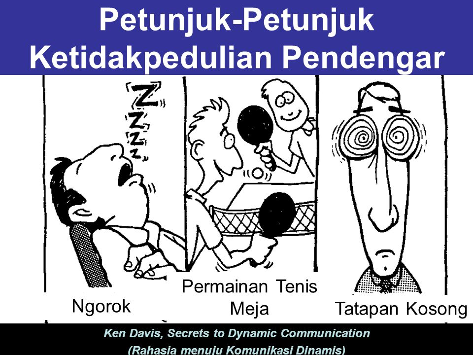 Petunjuk-Petunjuk Ketidakpedulian Pendengar Ngorok Tatapan Kosong Permainan Tenis Meja Ken Davis, Secrets to Dynamic Communication (Rahasia menuju Komunikasi Dinamis)