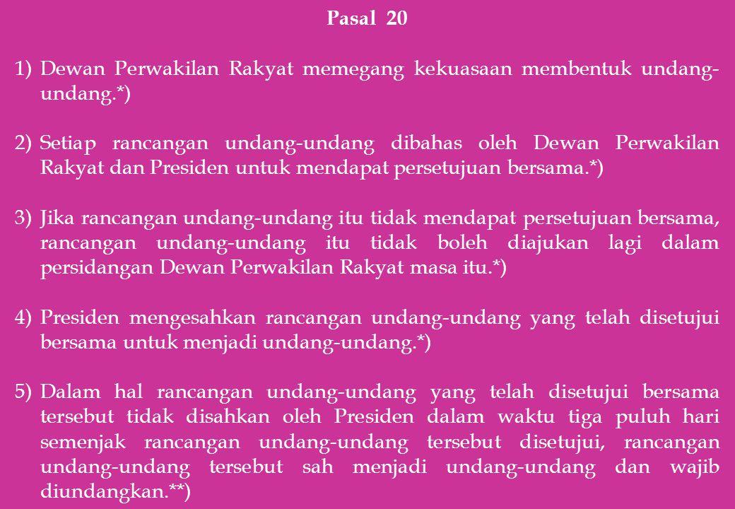 Pasal 20 1)Dewan Perwakilan Rakyat memegang kekuasaan membentuk undang- undang.*) 2)Setiap rancangan undang-undang dibahas oleh Dewan Perwakilan Rakya
