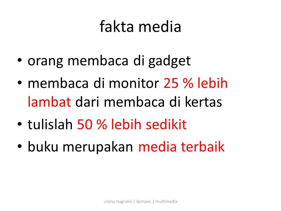 fakta media • orang membaca di gadget • membaca di monitor 25 % lebih lambat dari membaca di kertas • tulislah 50 % lebih sedikit • buku merupakan media terbaik wisnu nugroho | kompas | multimedia