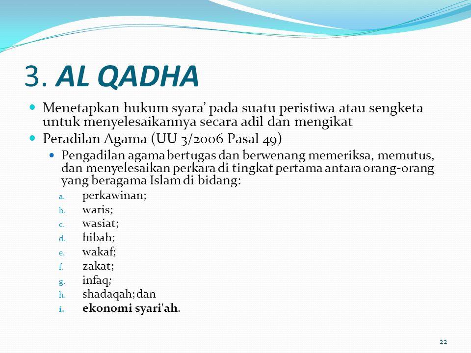 3. AL QADHA  Menetapkan hukum syara' pada suatu peristiwa atau sengketa untuk menyelesaikannya secara adil dan mengikat  Peradilan Agama (UU 3/2006
