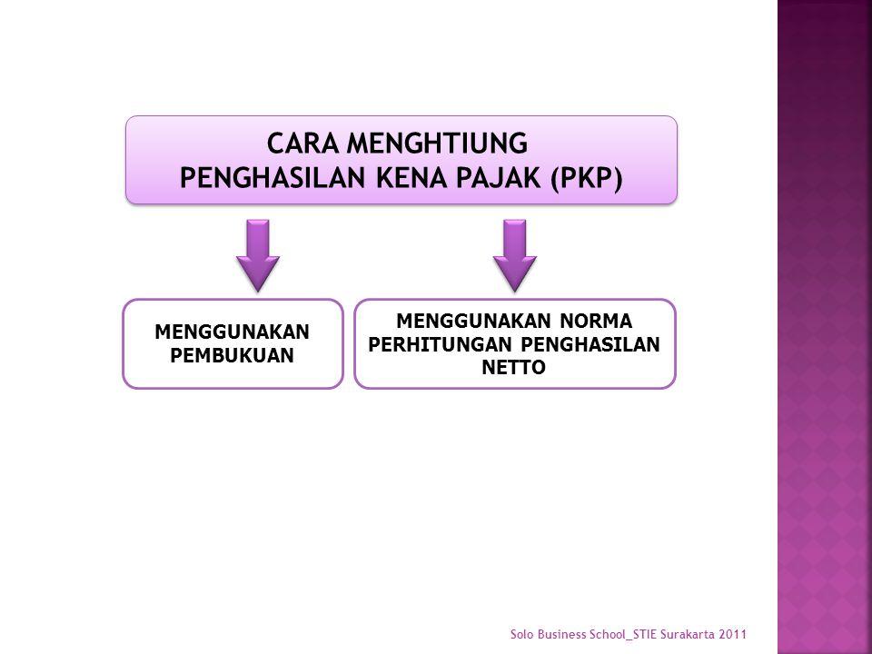 CARA MENGHTIUNG PENGHASILAN KENA PAJAK (PKP) CARA MENGHTIUNG PENGHASILAN KENA PAJAK (PKP) MENGGUNAKAN PEMBUKUAN MENGGUNAKAN NORMA PERHITUNGAN PENGHASILAN NETTO