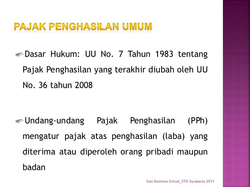Dasar Hukum: UU No. 7 Tahun 1983 tentang Pajak Penghasilan yang terakhir diubah oleh UU No.