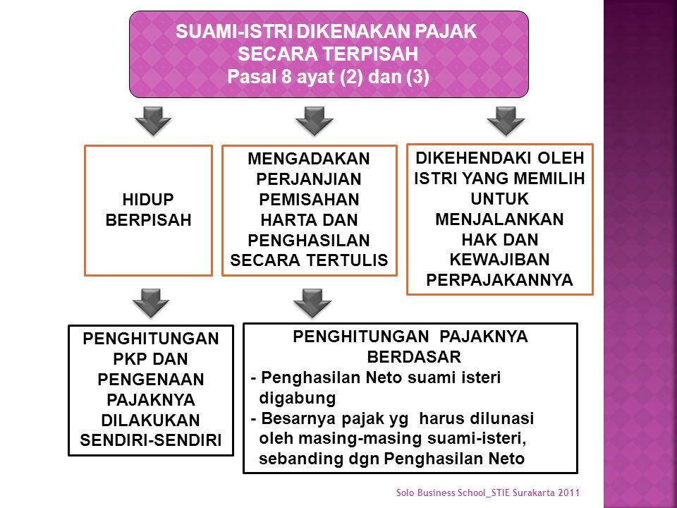 SUAMI-ISTRI DIKENAKAN PAJAK SECARA TERPISAH Pasal 8 ayat (2) dan (3) HIDUP BERPISAH MENGADAKAN PERJANJIAN PEMISAHAN HARTA DAN PENGHASILAN SECARA TERTULIS DIKEHENDAKI OLEH ISTRI YANG MEMILIH UNTUK MENJALANKAN HAK DAN KEWAJIBAN PERPAJAKANNYA PENGHITUNGAN PAJAKNYA BERDASAR - Penghasilan Neto suami isteri digabung - Besarnya pajak yg harus dilunasi oleh masing-masing suami-isteri, sebanding dgn Penghasilan Neto PENGHITUNGAN PKP DAN PENGENAAN PAJAKNYA DILAKUKAN SENDIRI-SENDIRI