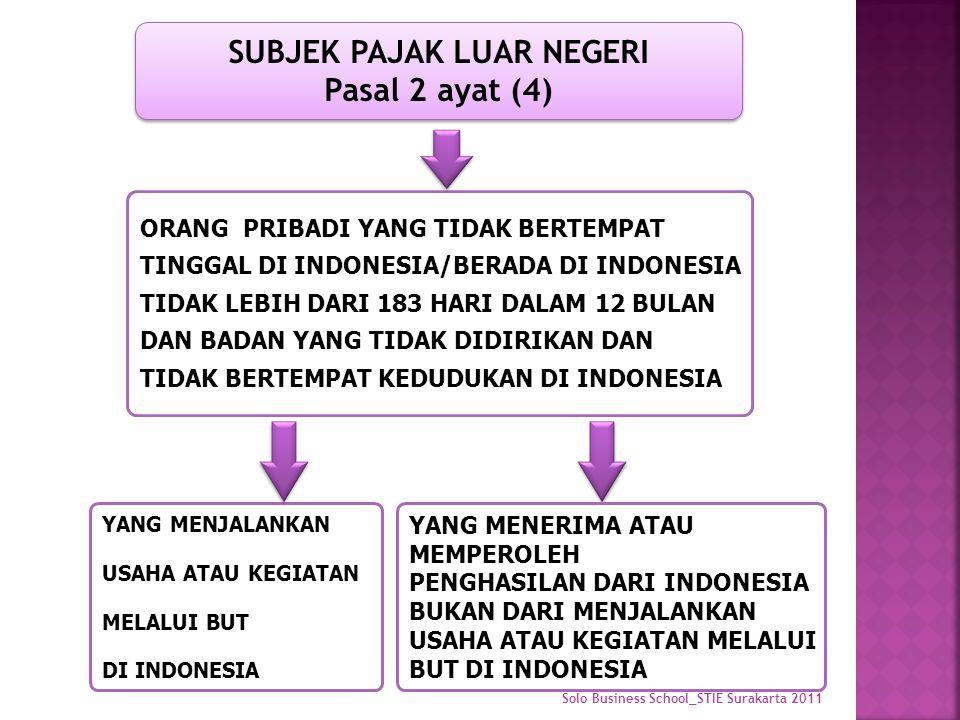 YANG MENJALANKAN USAHA ATAU KEGIATAN MELALUI BUT DI INDONESIA ORANG PRIBADI YANG TIDAK BERTEMPAT TINGGAL DI INDONESIA/BERADA DI INDONESIA TIDAK LEBIH DARI 183 HARI DALAM 12 BULAN DAN BADAN YANG TIDAK DIDIRIKAN DAN TIDAK BERTEMPAT KEDUDUKAN DI INDONESIA SUBJEK PAJAK LUAR NEGERI Pasal 2 ayat (4) YANG MENERIMA ATAU MEMPEROLEH PENGHASILAN DARI INDONESIA BUKAN DARI MENJALANKAN USAHA ATAU KEGIATAN MELALUI BUT DI INDONESIA
