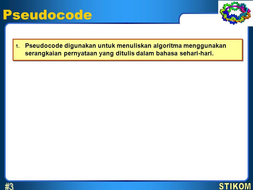 Pseudocode 1. Pseudocode digunakan untuk menuliskan algoritma menggunakan serangkaian pernyataan yang ditulis dalam bahasa sehari-hari.