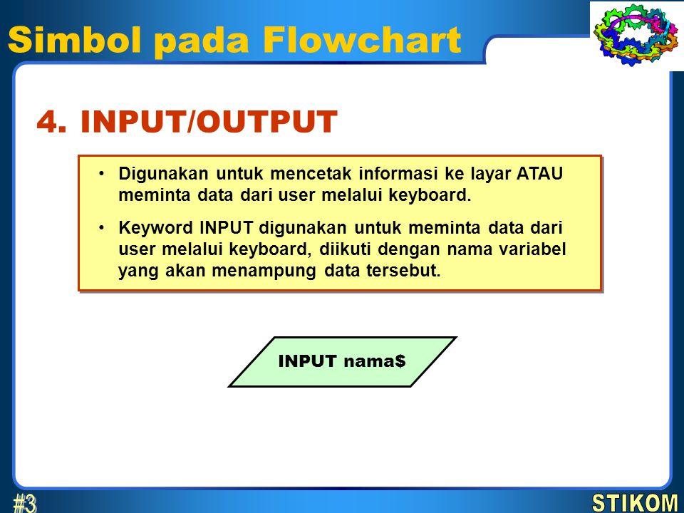 Simbol pada Flowchart •Digunakan untuk mencetak informasi ke layar ATAU meminta data dari user melalui keyboard. •Keyword INPUT digunakan untuk memint