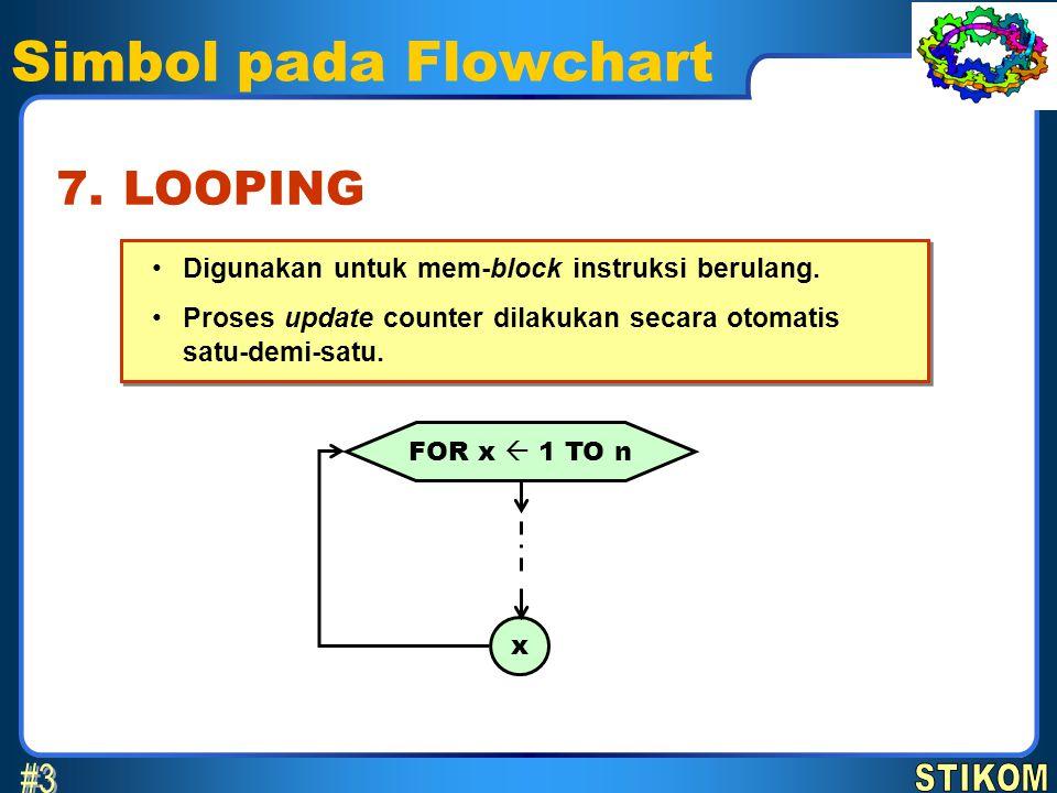 Simbol pada Flowchart •Digunakan untuk mem-block instruksi berulang. •Proses update counter dilakukan secara otomatis satu-demi-satu. •Digunakan untuk