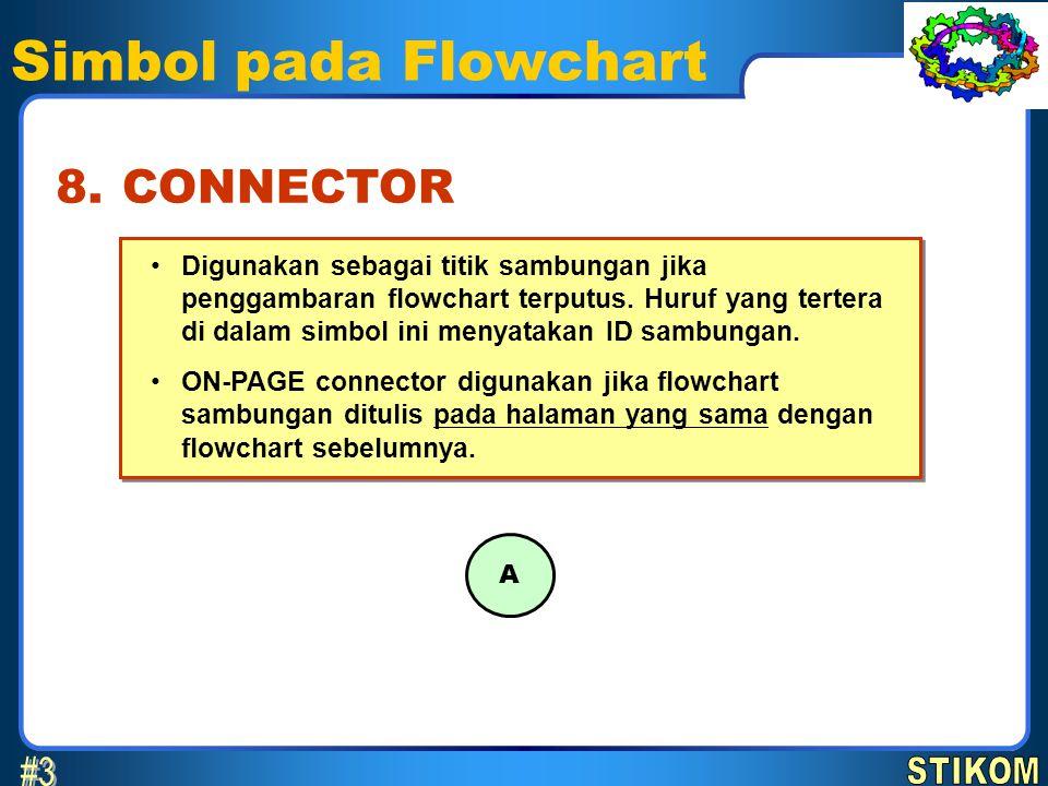 Simbol pada Flowchart •Digunakan sebagai titik sambungan jika penggambaran flowchart terputus. Huruf yang tertera di dalam simbol ini menyatakan ID sa