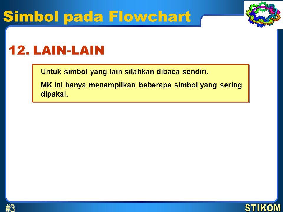 Simbol pada Flowchart Untuk simbol yang lain silahkan dibaca sendiri. MK ini hanya menampilkan beberapa simbol yang sering dipakai. Untuk simbol yang
