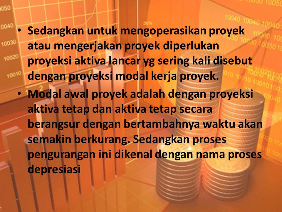• Sedangkan untuk mengoperasikan proyek atau mengerjakan proyek diperlukan proyeksi aktiva lancar yg sering kali disebut dengan proyeksi modal kerja p