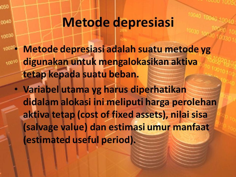 Metode depresiasi • Metode depresiasi adalah suatu metode yg digunakan untuk mengalokasikan aktiva tetap kepada suatu beban.