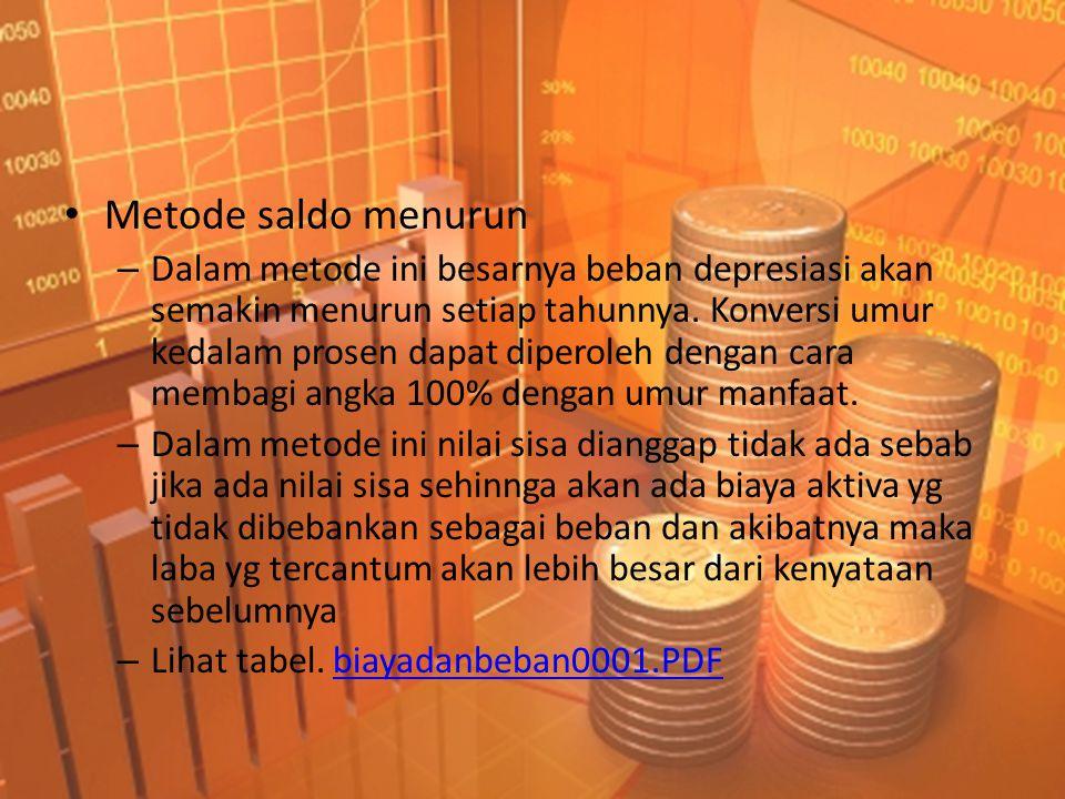 • Metode saldo menurun – Dalam metode ini besarnya beban depresiasi akan semakin menurun setiap tahunnya. Konversi umur kedalam prosen dapat diperoleh
