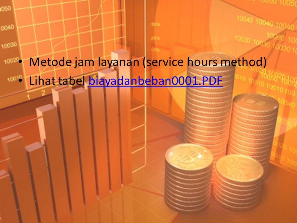 • Metode jam layanan (service hours method) • Lihat tabel biayadanbeban0001.PDFbiayadanbeban0001.PDF