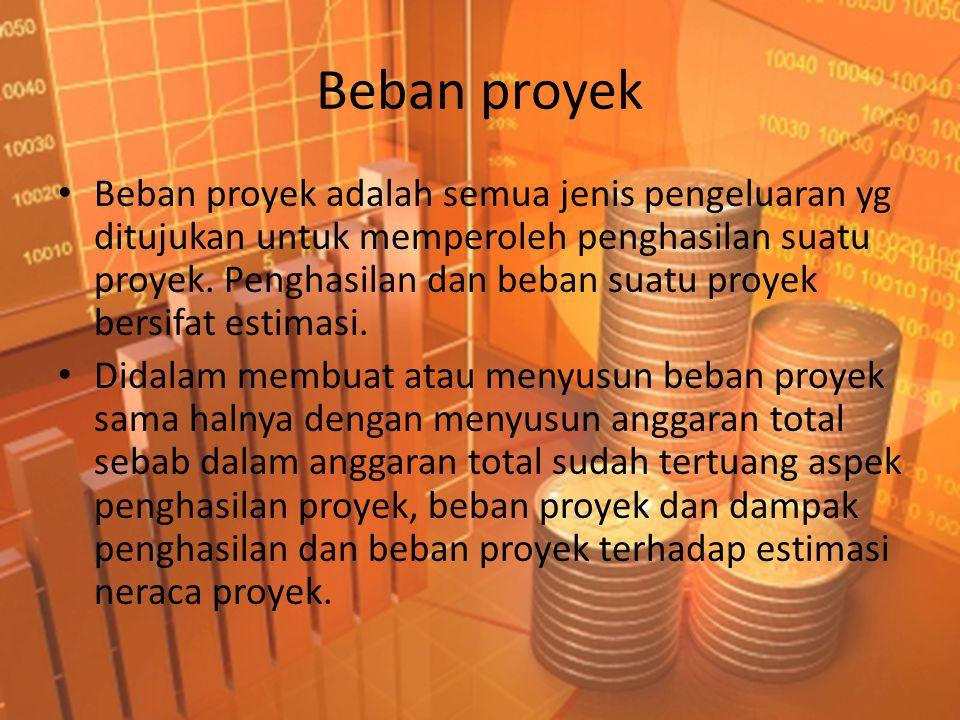 Beban proyek • Beban proyek adalah semua jenis pengeluaran yg ditujukan untuk memperoleh penghasilan suatu proyek. Penghasilan dan beban suatu proyek