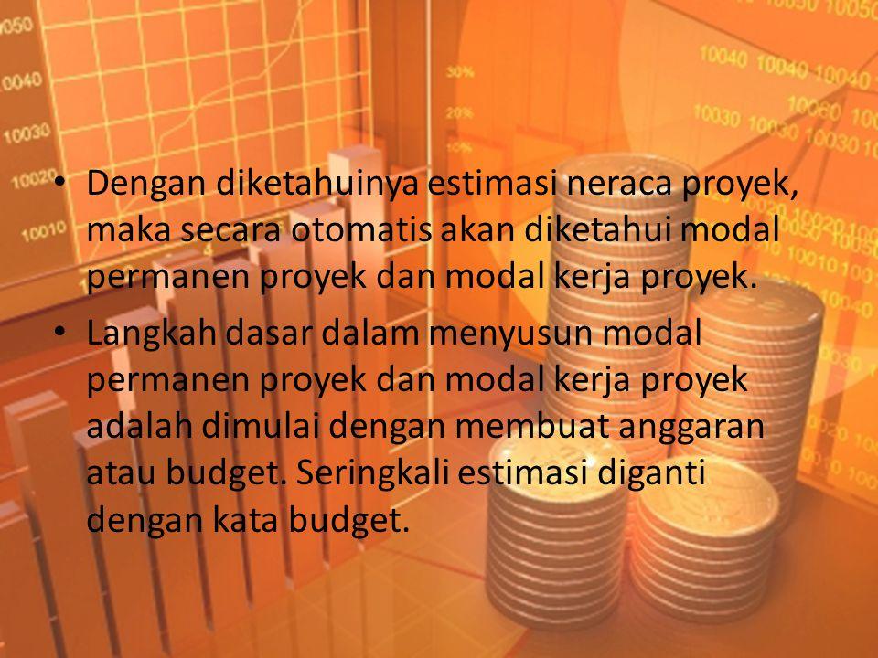 • Dengan diketahuinya estimasi neraca proyek, maka secara otomatis akan diketahui modal permanen proyek dan modal kerja proyek.