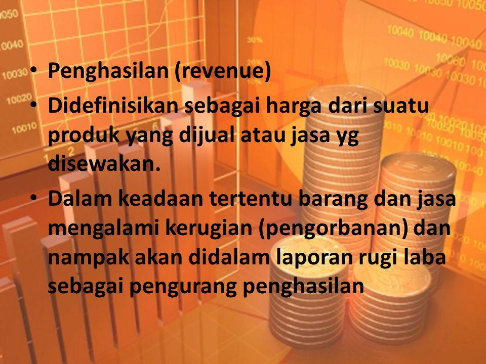 • Penghasilan (revenue) • Didefinisikan sebagai harga dari suatu produk yang dijual atau jasa yg disewakan. • Dalam keadaan tertentu barang dan jasa m