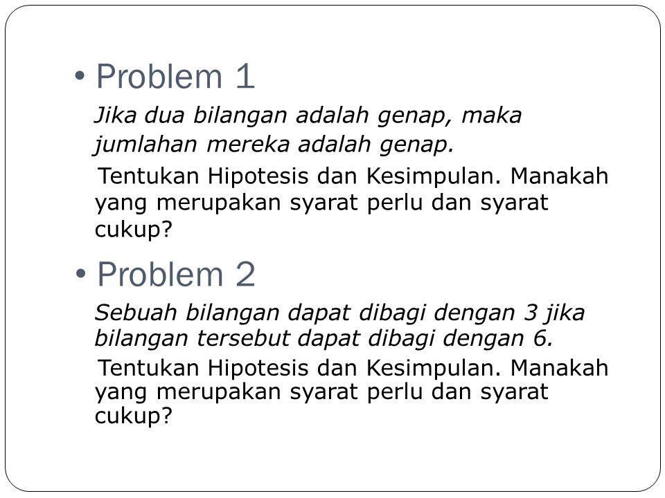 • Problem 3 Jika sebuah bilangan berakhir dalam 0, maka bilangan tersebut merupakan kelipatan dari 5.