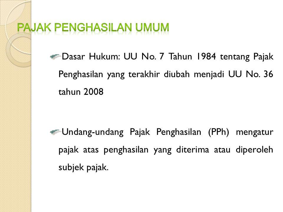 Dasar Hukum: UU No. 7 Tahun 1984 tentang Pajak Penghasilan yang terakhir diubah menjadi UU No. 36 tahun 2008 Undang-undang Pajak Penghasilan (PPh) men