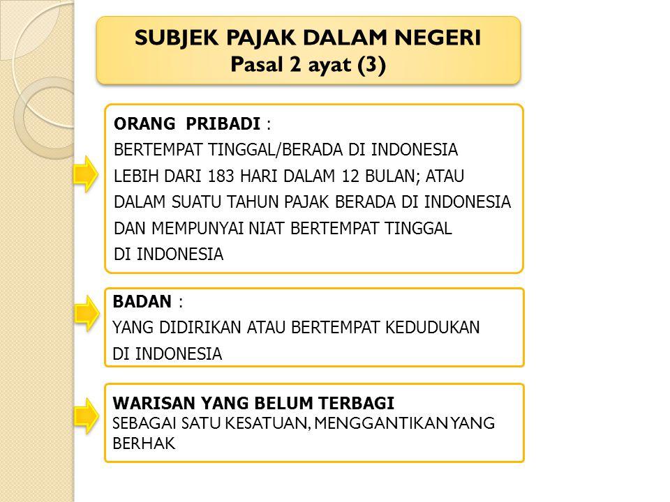 BADAN : YANG DIDIRIKAN ATAU BERTEMPAT KEDUDUKAN DI INDONESIA ORANG PRIBADI : BERTEMPAT TINGGAL/BERADA DI INDONESIA LEBIH DARI 183 HARI DALAM 12 BULAN;