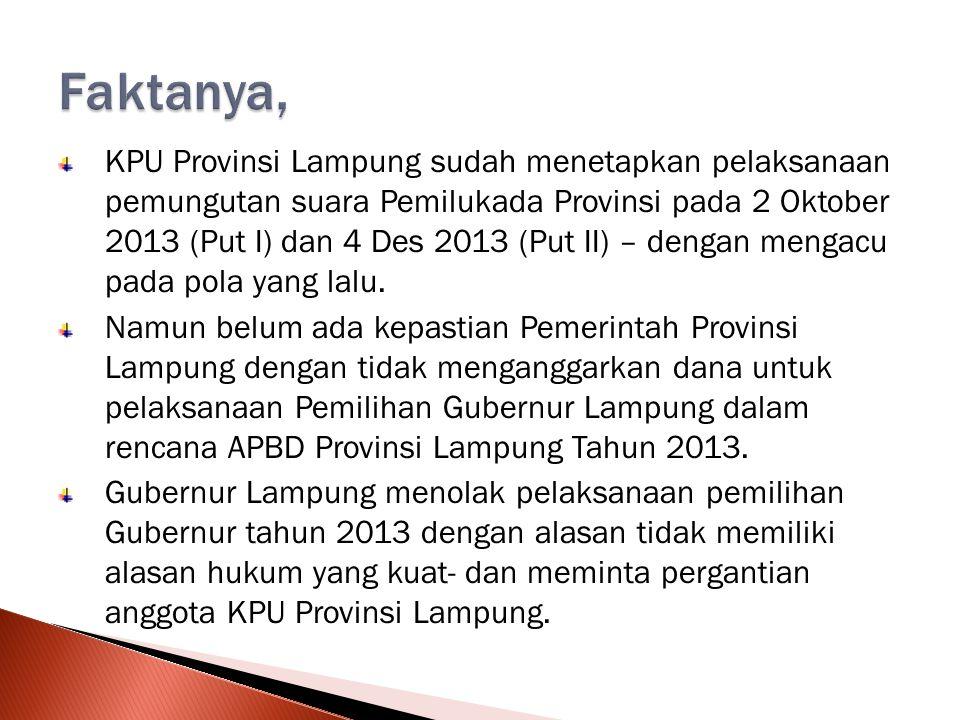 KPU Provinsi Lampung sudah menetapkan pelaksanaan pemungutan suara Pemilukada Provinsi pada 2 Oktober 2013 (Put I) dan 4 Des 2013 (Put II) – dengan mengacu pada pola yang lalu.