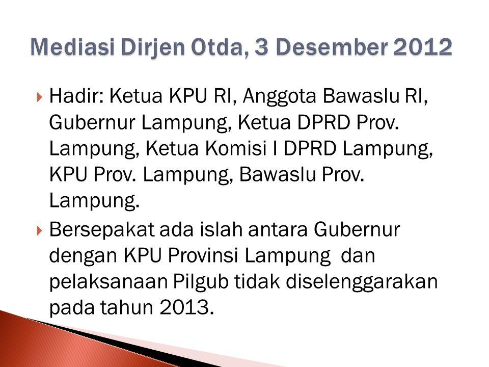  Hadir: Ketua KPU RI, Anggota Bawaslu RI, Gubernur Lampung, Ketua DPRD Prov.