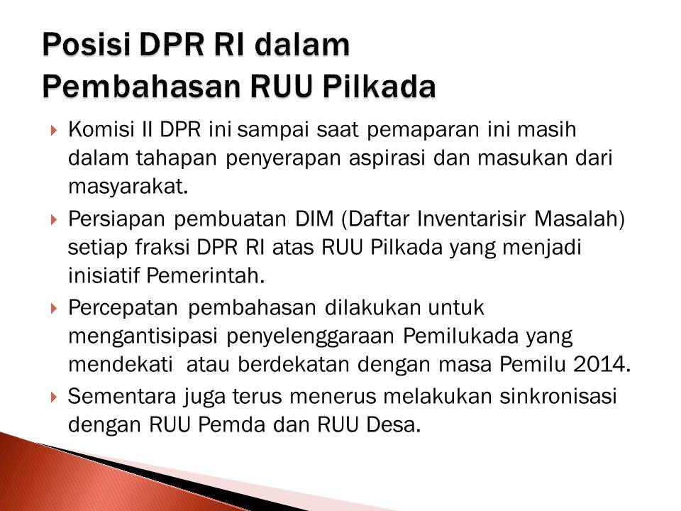  Komisi II DPR ini sampai saat pemaparan ini masih dalam tahapan penyerapan aspirasi dan masukan dari masyarakat.