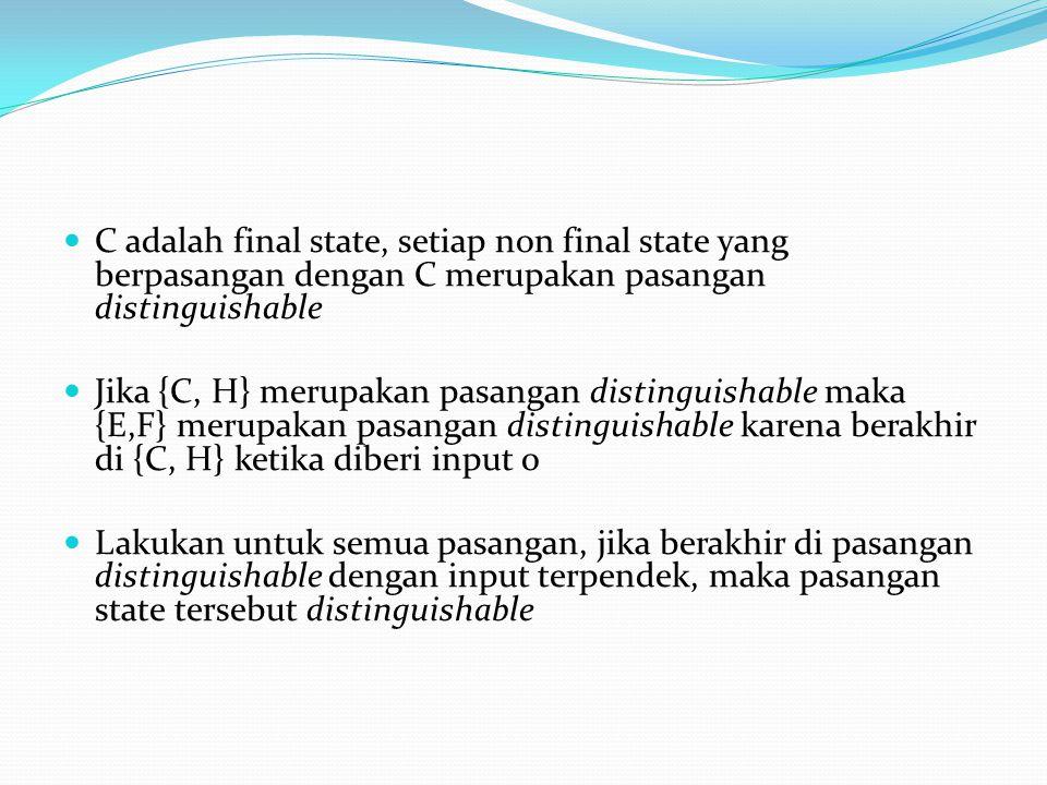  C adalah final state, setiap non final state yang berpasangan dengan C merupakan pasangan distinguishable  Jika {C, H} merupakan pasangan distingui
