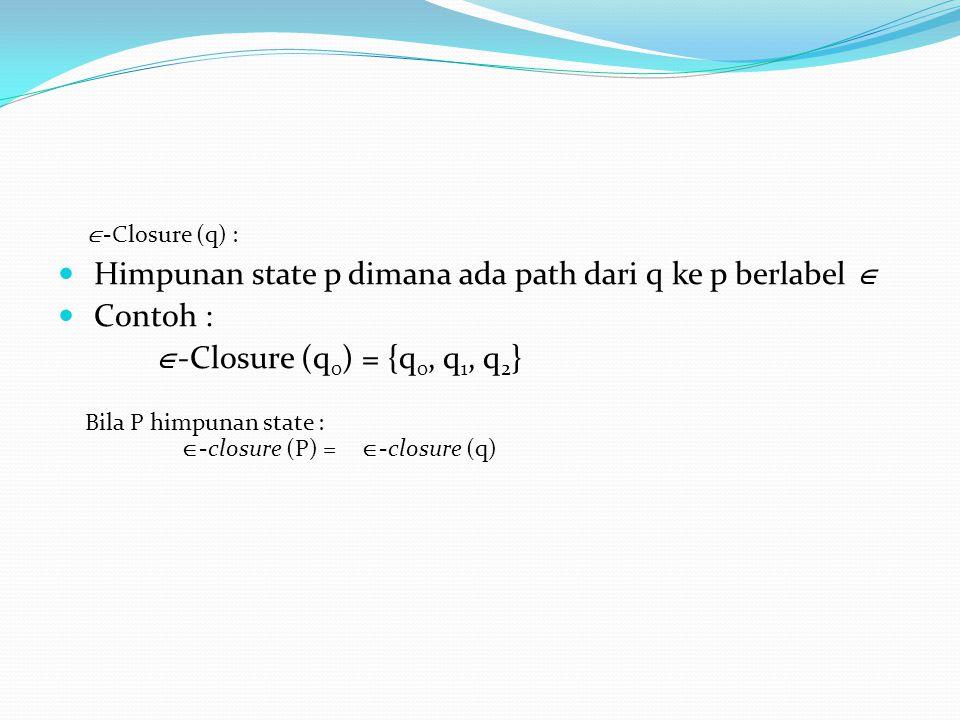  Himpunan state p dimana ada path dari q ke p berlabel   Contoh :  -Closure (q 0 ) = {q 0, q 1, q 2 }  -Closure (q) : Bila P himpunan state :  -
