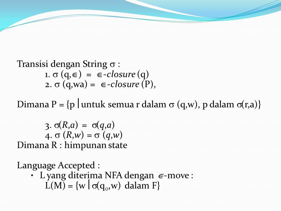 Transisi dengan String  : 1. (q,  ) =  -closure (q) 2.