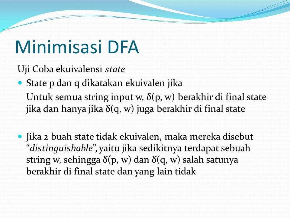 Minimisasi DFA Uji Coba ekuivalensi state  State p dan q dikatakan ekuivalen jika Untuk semua string input w, δ(p, w) berakhir di final state jika dan hanya jika δ(q, w) juga berakhir di final state  Jika 2 buah state tidak ekuivalen, maka mereka disebut distinguishable , yaitu jika sedikitnya terdapat sebuah string w, sehingga δ(p, w) dan δ(q, w) salah satunya berakhir di final state dan yang lain tidak