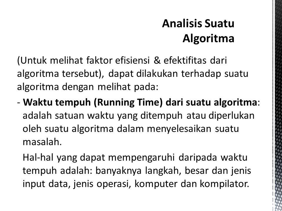 (Untuk melihat faktor efisiensi & efektifitas dari algoritma tersebut), dapat dilakukan terhadap suatu algoritma dengan melihat pada: - Waktu tempuh (