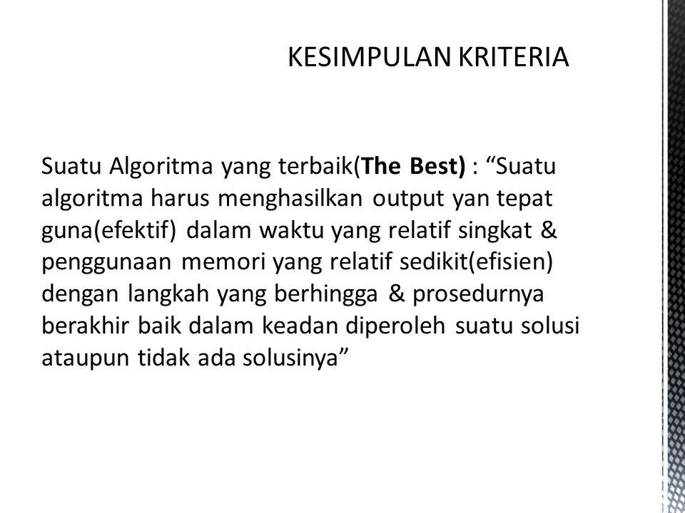 """Suatu Algoritma yang terbaik(The Best) : """"Suatu algoritma harus menghasilkan output yan tepat guna(efektif) dalam waktu yang relatif singkat & penggun"""