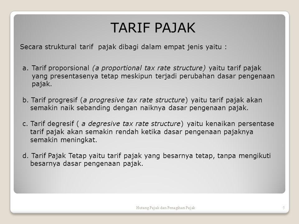 Secara struktural tarif pajak dibagi dalam empat jenis yaitu : TARIF PAJAK Hutang Pajak dan Penagihan Pajak5 a.Tarif proporsional (a proportional tax rate structure) yaitu tarif pajak yang presentasenya tetap meskipun terjadi perubahan dasar pengenaan pajak.