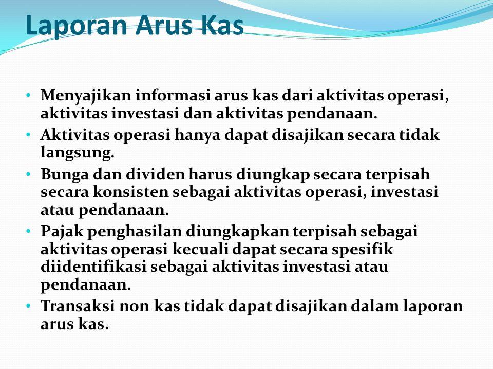 Laporan Arus Kas • Menyajikan informasi arus kas dari aktivitas operasi, aktivitas investasi dan aktivitas pendanaan. • Aktivitas operasi hanya dapat