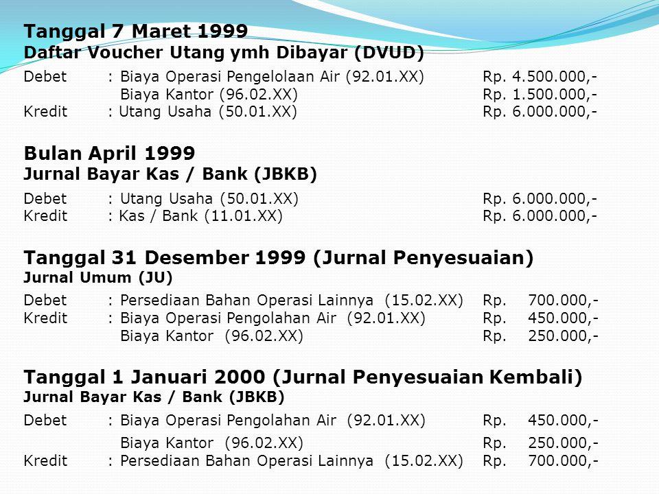 Tanggal 7 Maret 1999 Daftar Voucher Utang ymh Dibayar (DVUD) Debet:Biaya Operasi Pengelolaan Air (92.01.XX)Rp. 4.500.000,- Biaya Kantor (96.02.XX)Rp.