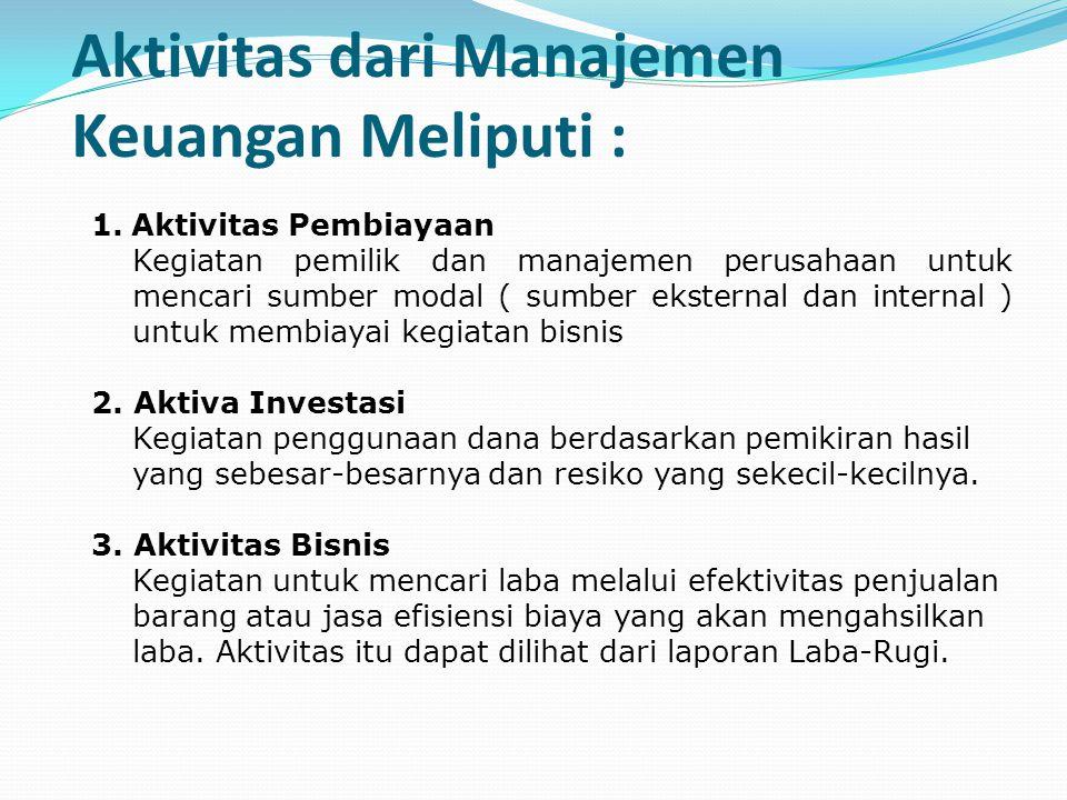 Aktivitas dari Manajemen Keuangan Meliputi : 1.Aktivitas Pembiayaan Kegiatan pemilik dan manajemen perusahaan untuk mencari sumber modal ( sumber ekst