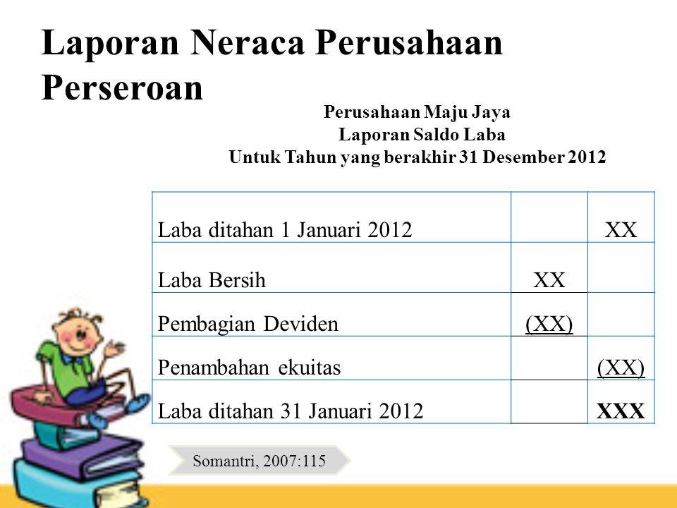Laporan Neraca Perusahaan Perseroan Laba ditahan 1 Januari 2012XX Laba BersihXX Pembagian Deviden(XX) Penambahan ekuitas(XX) Laba ditahan 31 Januari 2