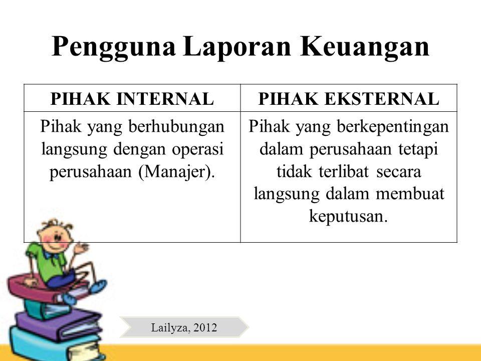 Pengguna Laporan Keuangan PIHAK INTERNALPIHAK EKSTERNAL Pihak yang berhubungan langsung dengan operasi perusahaan (Manajer). Pihak yang berkepentingan