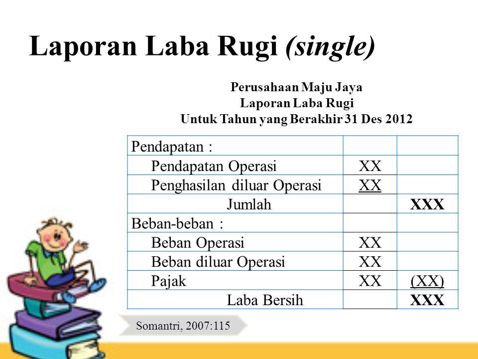 Laporan Laba Rugi (single) Pendapatan : Pendapatan OperasiXX Penghasilan diluar OperasiXX JumlahXXX Beban-beban : Beban OperasiXX Beban diluar Operasi