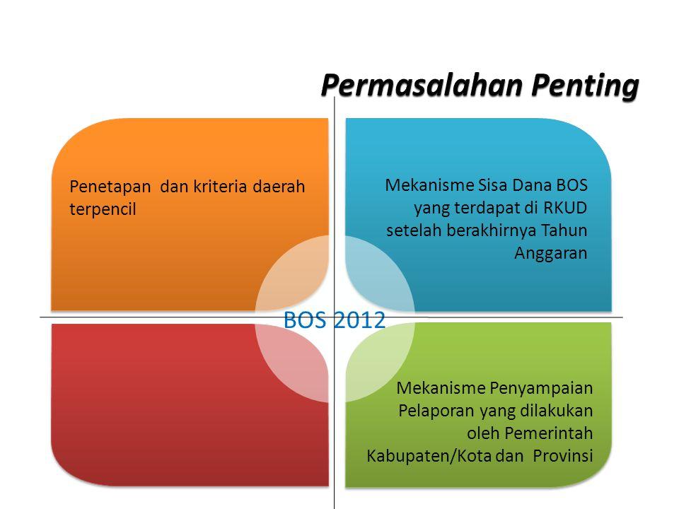BOS 2012 Penetapan dan kriteria daerah terpencil Mekanisme Sisa Dana BOS yang terdapat di RKUD setelah berakhirnya Tahun Anggaran Mekanisme Penyampaian Pelaporan yang dilakukan oleh Pemerintah Kabupaten/Kota dan Provinsi