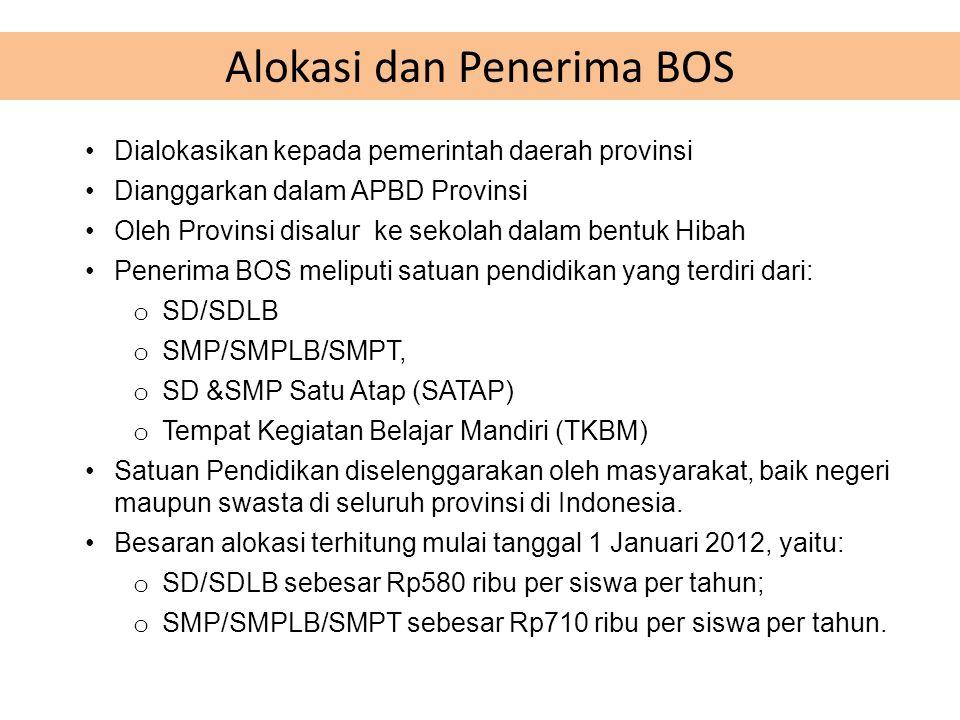 •Dialokasikan kepada pemerintah daerah provinsi •Dianggarkan dalam APBD Provinsi •Oleh Provinsi disalur ke sekolah dalam bentuk Hibah •Penerima BOS meliputi satuan pendidikan yang terdiri dari: o SD/SDLB o SMP/SMPLB/SMPT, o SD &SMP Satu Atap (SATAP) o Tempat Kegiatan Belajar Mandiri (TKBM) •Satuan Pendidikan diselenggarakan oleh masyarakat, baik negeri maupun swasta di seluruh provinsi di Indonesia.