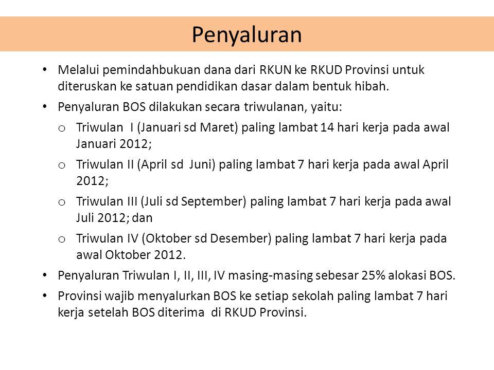 • Melalui pemindahbukuan dana dari RKUN ke RKUD Provinsi untuk diteruskan ke satuan pendidikan dasar dalam bentuk hibah.