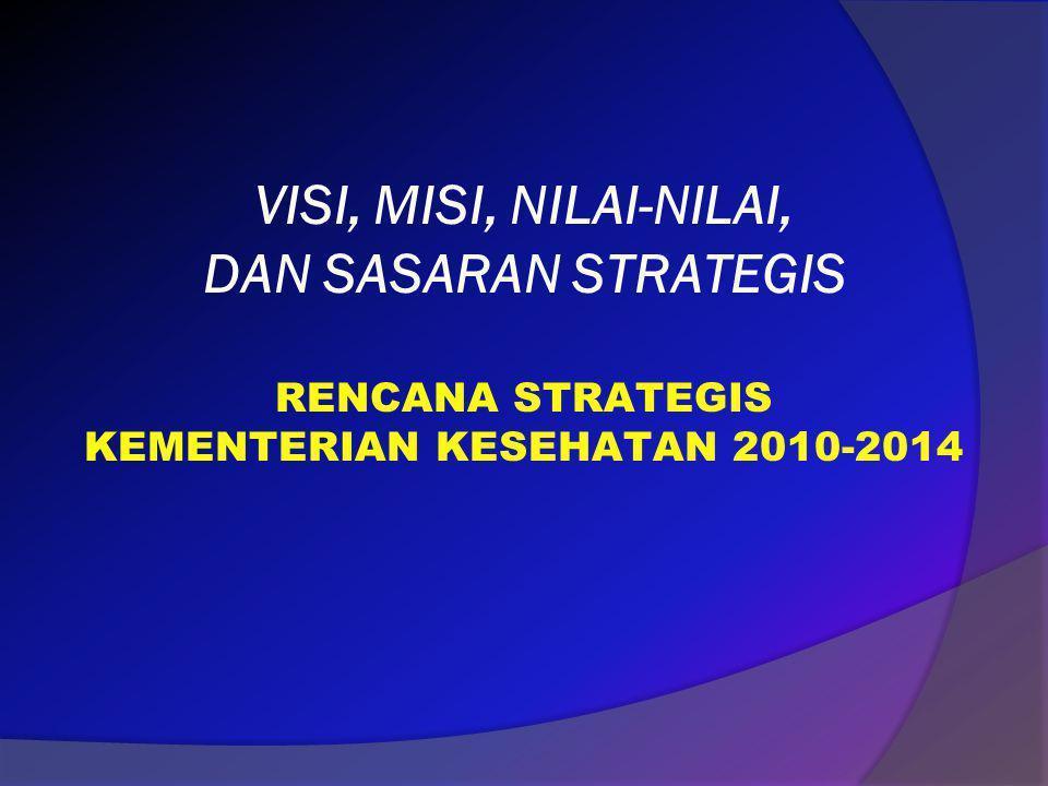 VISI, MISI, NILAI-NILAI, DAN SASARAN STRATEGIS RENCANA STRATEGIS KEMENTERIAN KESEHATAN 2010-2014