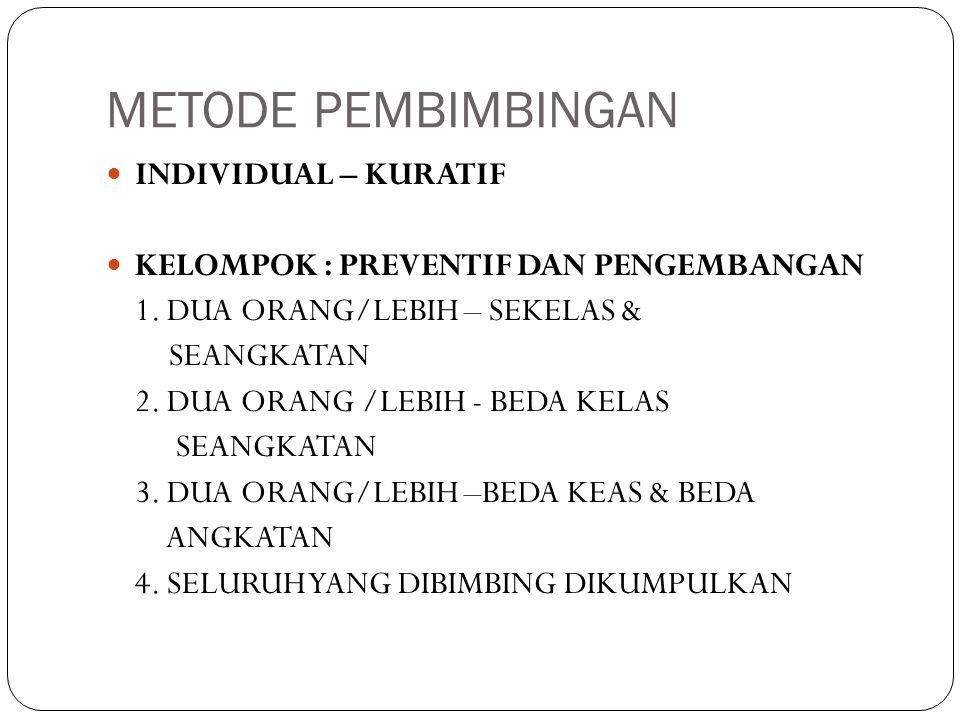 METODE PEMBIMBINGAN  INDIVIDUAL – KURATIF  KELOMPOK : PREVENTIF DAN PENGEMBANGAN 1.