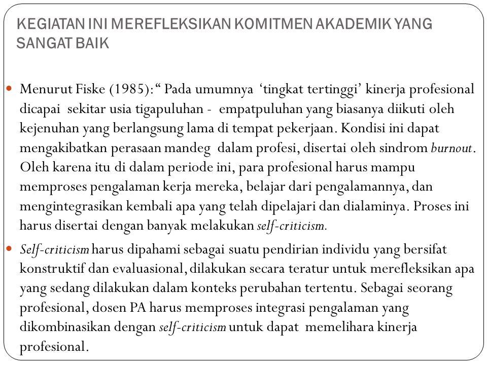 """KEGIATAN INI MEREFLEKSIKAN KOMITMEN AKADEMIK YANG SANGAT BAIK  Menurut Fiske (1985): """" Pada umumnya 'tingkat tertinggi' kinerja profesional dicapai s"""